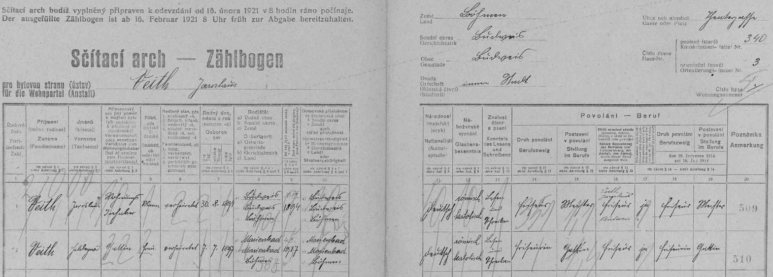 Arch sčítání lidu z roku 1921 pro českobudějovický dům čp. 340 (Divadelní ulice čp. 3), kde žil s manželkou Hildegard