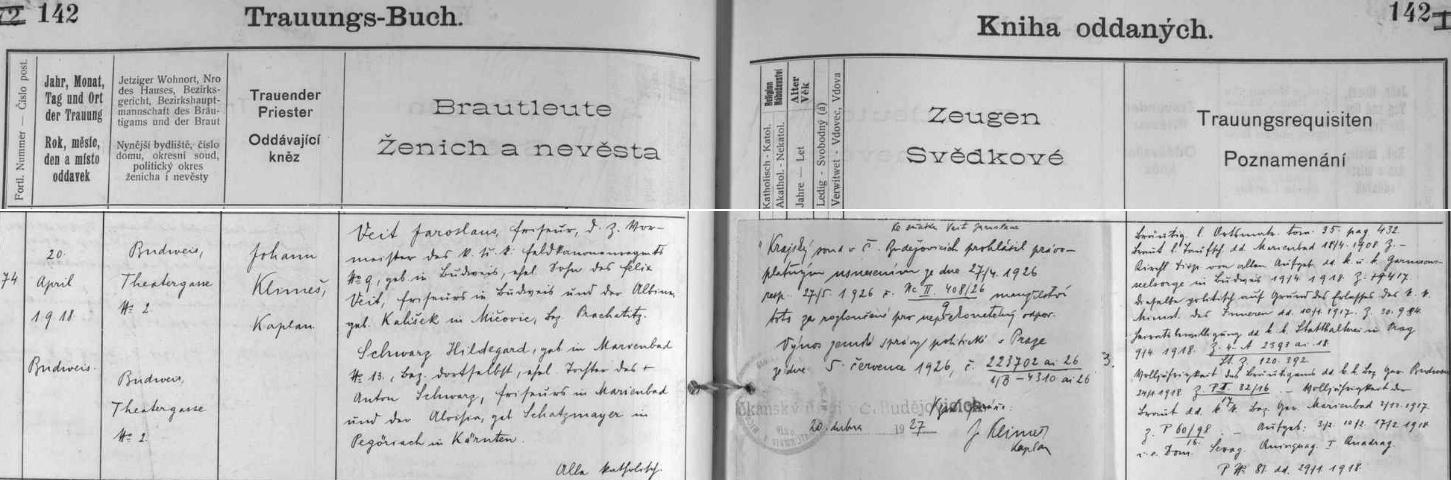 """Německy psaný záznam o jeho svatbě (ženich je tu psán """"Veit Jaroslaus"""") s pozdějším česky psaným přípisem o rozvodu jeho manželství v roce 1926"""