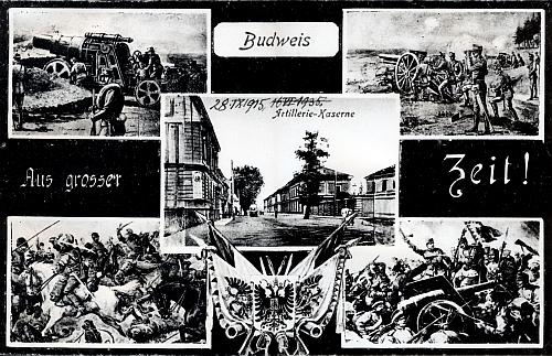 Prvoválečná pohlednice českobudějovických dělostřelců
