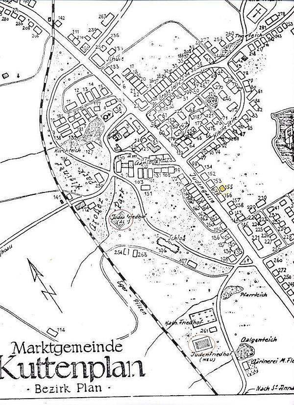Plánek Chodové Plané se žlutě vyznačeným objektem zdejší synagogy