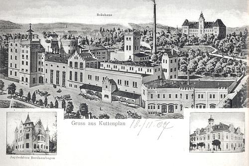 Stará pohlednice Chodové Plané s vrchnostenským pivovarem, později nazvaným Chodovar