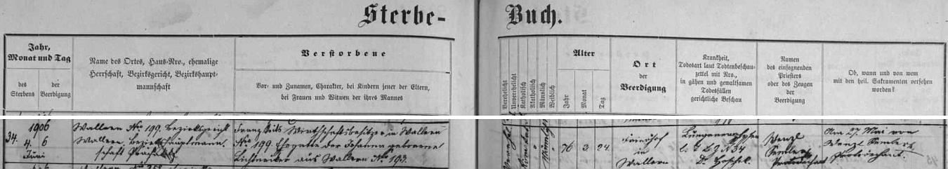 Záznam volarské matriky o Veitsově úmrtí uvádí jako místo jeho bydliště Volary čp. 199 - manželka Johanna, roz. Lichtneckerová, pocházela z Volar čp. 193