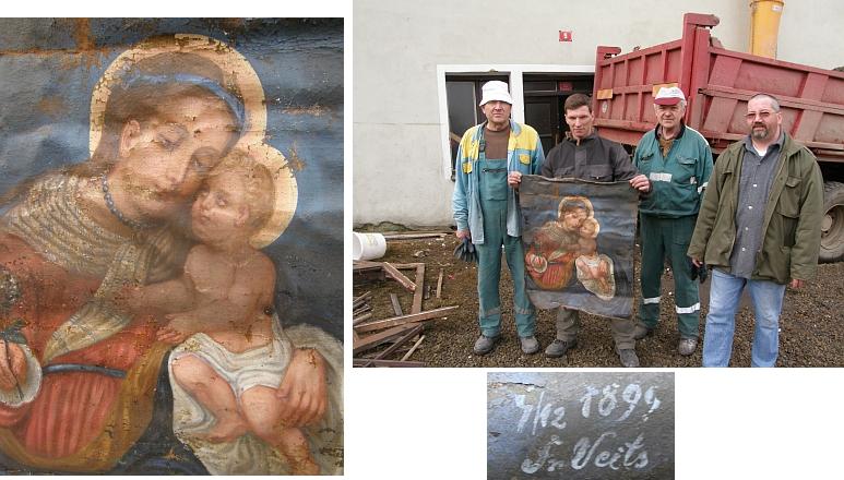 """Při renovaci volarského domu čp. 5, zvaného postaru """"Lenaihaus"""", byl na jeho půdě nalezen v roce 2011 tento mariánský obraz, signovaný 1899 rukou Veitsovou"""