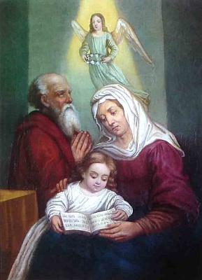 Jeho obraz Panny Marie jako malé dívky ajejích rodičů sv. Anny a sv. Jáchyma zmajetku malířovy vnučky