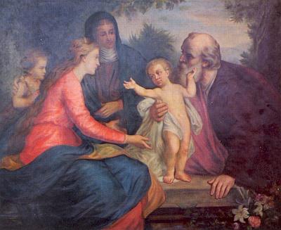 """Jeho malba s názvem """"Heilige Familien: Maria mit Jesuskind, Johannes und seine Eltern Elisabeth und Zacharias"""", zachycená tu na fotografické reprodukci, kterou pořídila Berta Ringová"""