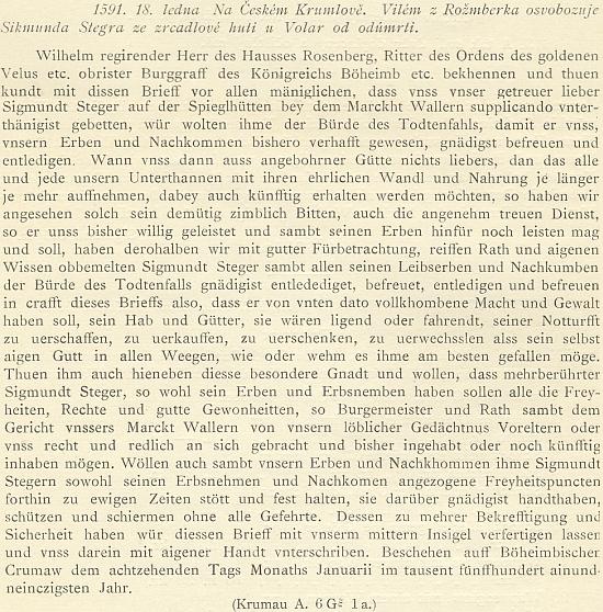 """Německy psaný dopis Viléma z Rožmberka osvobozuje roku 1591     Zikmunda Štegara """"ze zrcadlové huti u Volar"""" od odúmrti"""