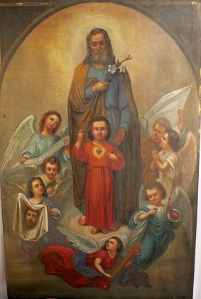 """Jeho olejomalba na plechu s názvem """"Der Hl. Josef mit dem Jesuskind"""", tj. """"Sv. Josef s malým Ježíšem"""" znázorňuje prostřednictvím sedmi obletujících andělů i celý Kristův život od narození až do umučení a vzkříšení"""