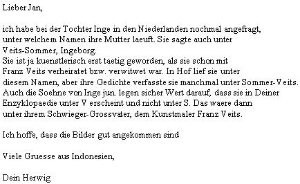Dopis Herwiga Zahorky, zasazující se o znění příjmení paní Ingeborg poté, co věc prohovořil s její dcerou a vnuky (Ingeborg je prasnachou a Herwig pravnukem Franze Veitse)