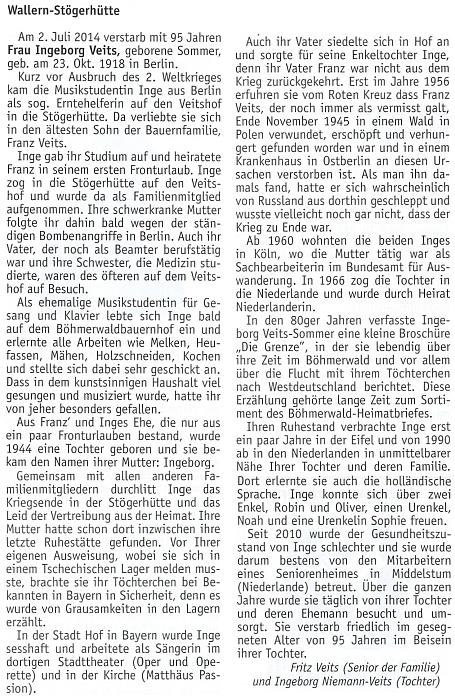Nekrolog na stránkách krajanského měsíčníku, který napsali Fritz Veits jako senior rodiny a Ingeborg Niemann-Veitsová jako její dcera