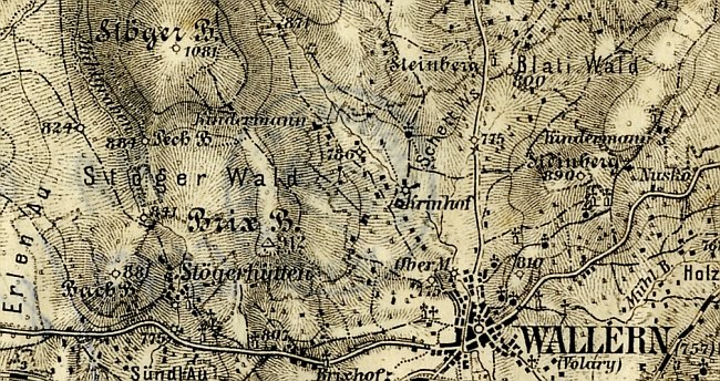 Stögerova Huť, hora (dnes Jedlová) i  les zvaný Stögerův na staré mapě