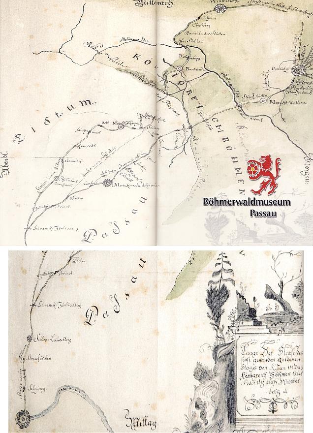 Stará mapa Zlaté stezky z Pasova do Prachatic a Vimperka i se zachycením Stögerovy Huti na obálce a v obrazové příloze katalogu Muzea Šumavy v Pasově z roku 2009