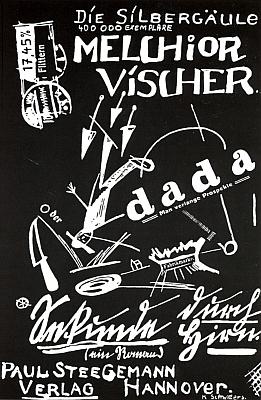 "Obálka (1920, Paul Steegemann Verlag, Hannover) jeho dadaistického románu ""Vteřina mozkem"" je dílem Kurta Schwitterse (1887-1948)"