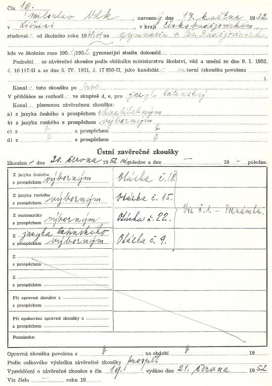 Záznam o jeho maturitní zkoušce na českobudějovickém Jirsíkově gymnáziu v roce 1952 ve školní dokumentaci