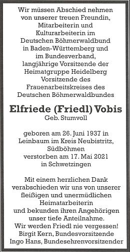 ... a oznámení o jejím skonu na stránkách krajanského sdružení Deutscher Böhmerwaldbund