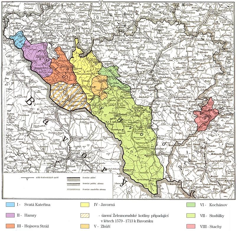 Území Královského hvozdu podle stavu z roku 1613, kdy (ještě i sto let potom) Železnorudská kotlina patřila k Bavorsku - barevně odlišeny jsou jednotlivé královácké rychty