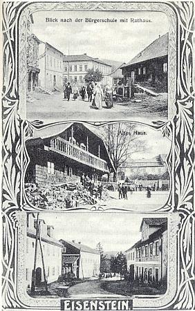 """Secesní pohlednice ze Železné Rudy zachycuje uprostřed i starý     """"Gerl-Sattler-Haus"""" a za ním místní """"zámeček"""""""