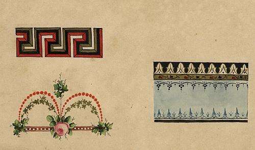 ... a ukázky návrhů vzorů z jeho skicáře