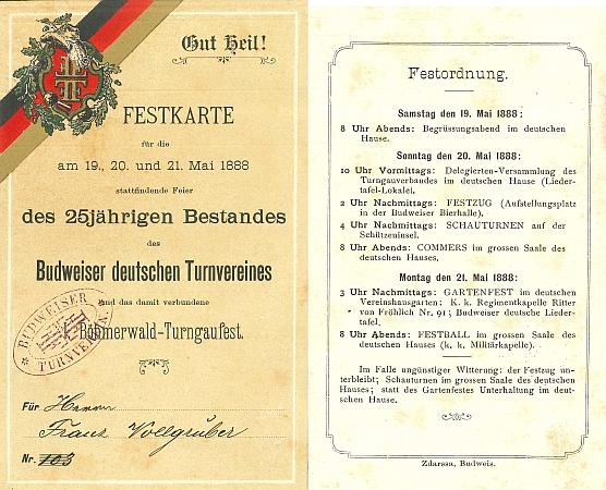 Jeho účastnická karta z téhož roku 1888 pro oslavy českobudějovického německého tělocvičného spolku