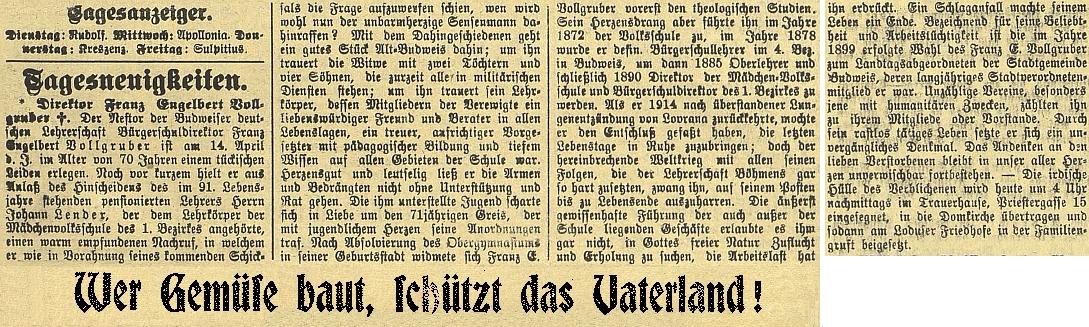 """Nekrolog v Budweiser Zeitung je přerušen válečnou výzvou:     """"Kdo pěstuje zeleninu, chrání otčinu!"""""""