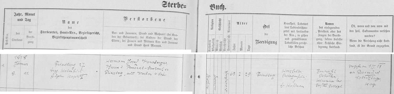 Záznam frymburské knihy zemřelých o jeho skonu