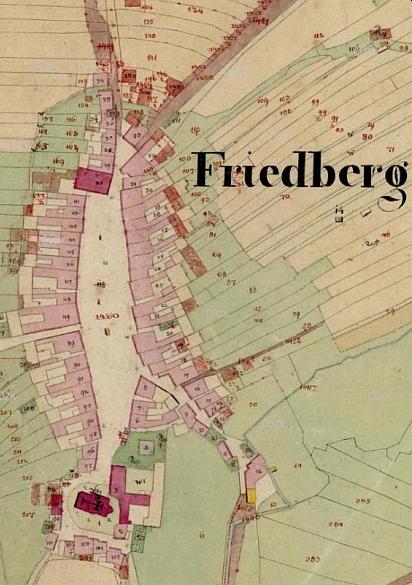 Frymburk s vyznačeným kostelem a farou na mapě stabilního katastru zroku1826