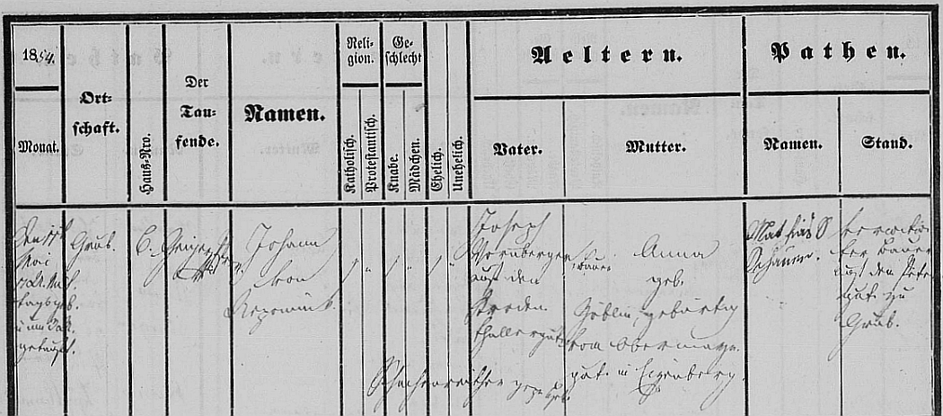 Záznam o jeho narození v křestní matrice hornorakouské obce Weibern