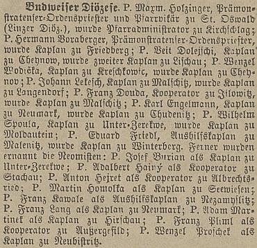 Podle zprávy českobudějovického německého tisku se jeho kněžská cesta poprvé protnula s Frymburkem už v roce 1878