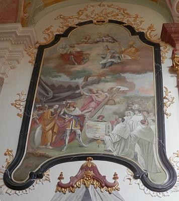 Založení kláštera Zlatá Koruna, zobrazené v klášterním kostele Nanebevzetí Panny Marie