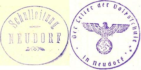 Dvě razítka školy v Kondrači z třicátých let 20. století - ještě za republiky a z roku 1939