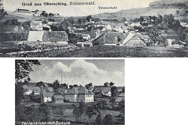 Milešice - celkový pohled a částečný výřez z jiné pohlednice se školou