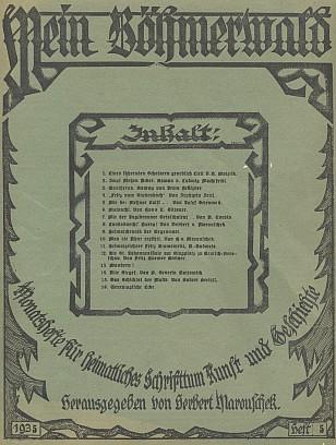 Obálka časopisu Mein Böhmerwald s otištěním části jeho románu Zwei Metzen Acker