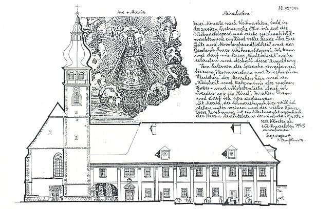 Jeho poděkování za vánoční poštu z února 1994 doprovází vyobrazení kostela a kláštera