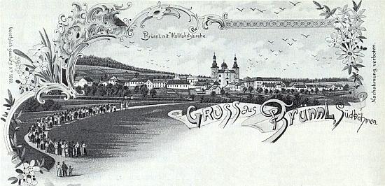 Dobrá Voda u Nových Hradů na staré pohlednici s poutnickým zástupem vpředu