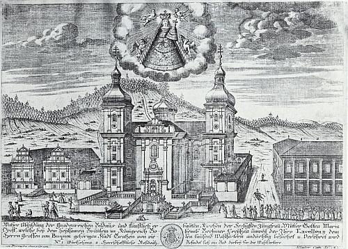 Mědirytiny poutního kostela v Dobré Vodě s hostincem a panskou rezidencí pochází z konce 18. století a je dílem Antona Klaubera