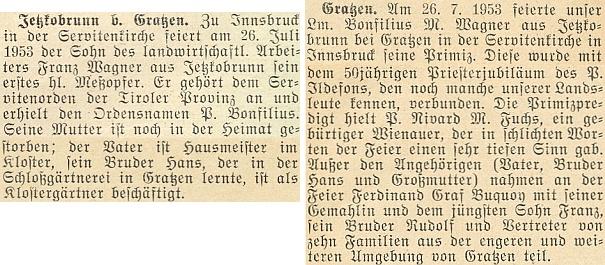 O jeho primici 26. července 1953 v Innsbrucku na stránkách krajanského měsíčníku