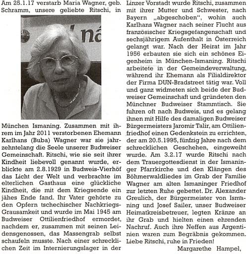 """Nekrolog jeho ženy Marie, řečené mezi blízkými """"Ritchi"""" (jemu se přezdívalo """"Buba""""), na stránkách krajanského časopisu, jak ho sem napsala Margarethe Hampelová"""