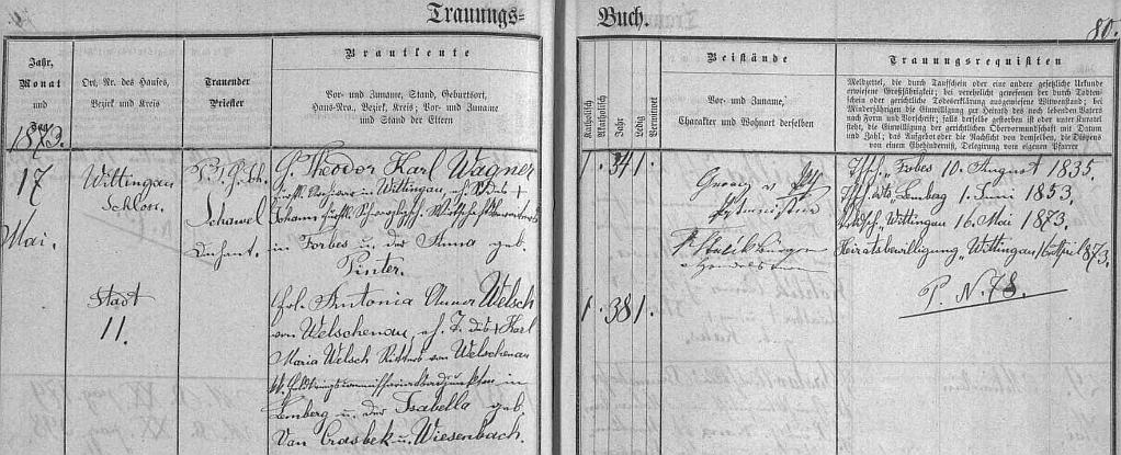 """Záznam o jeho svatbě v českobudějovické """"Knize oddaných"""" s Antonií Annou Welsch von Welschenau, narozenou ve dnes ukrajinském Lvově"""