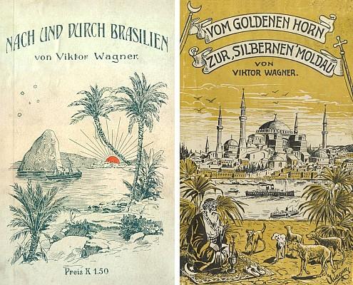 """Dvě obálky s vlastnoručními kresbami autorovými, jednou z nich i s podpisem, na jeho knihách z budějovického nakladatelství """"Moldavia"""""""