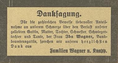Poděkování za projevy soustrasti ke skonu její matky Idy Wagnerové na stránkách českobudějovického německého listu v červnu roku 1931