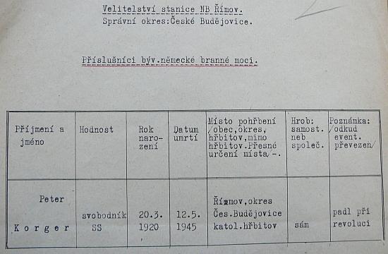 Hlášení SNB o Peteru Korgerovi z roku 1949