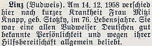 """Zpráva o úmrtí jiné z pozůstalých na parte Marie Knappové uvedených, totiž """"všeobecně oblíbené"""" paní """"Mizzi"""" Knappové, roz. Stocké (*18. června 1883 v Českých Budějovicích), v rakouském Linci 14. prosince roku 1958, jak ji přinesl krajanský měsíčník"""