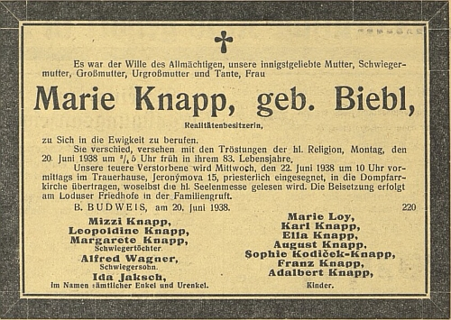 """Parte (1938) paní Marie Knappové, kde mezi pozůstalými figuruje i""""Madin"""" otec Alfred Wagner - tady v Budějovicích jako by končil jedensvět"""
