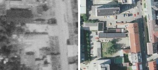 """Tzv. """"Knapphof"""" při někdejších dvou domech ve vlastnictví Marie Knappové (naproti budově dnešní Jihočeské univerzity v českobudějovické Jeronýmově ulici) na leteckých snímcích z let 1952 a 2008"""