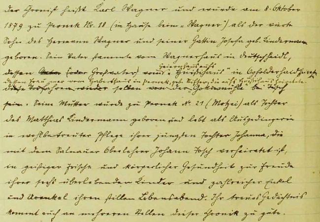 Úvodní pasáž jeho vlastního životopisu v obecní kronice rodné obce Pernek, který zabírá téměř osm stran psaného textu a čte se jako román, datovaný v Praze dnem 17. září roku 1928