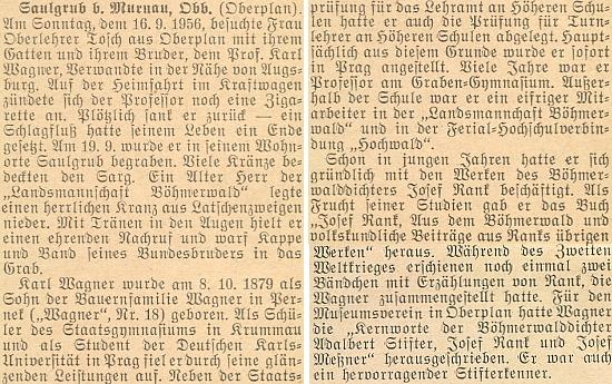Zpráva o jeho úmrtí cestou autem do Saulgrub, kde bydlil a kde byl také 19. září 1956 pochován