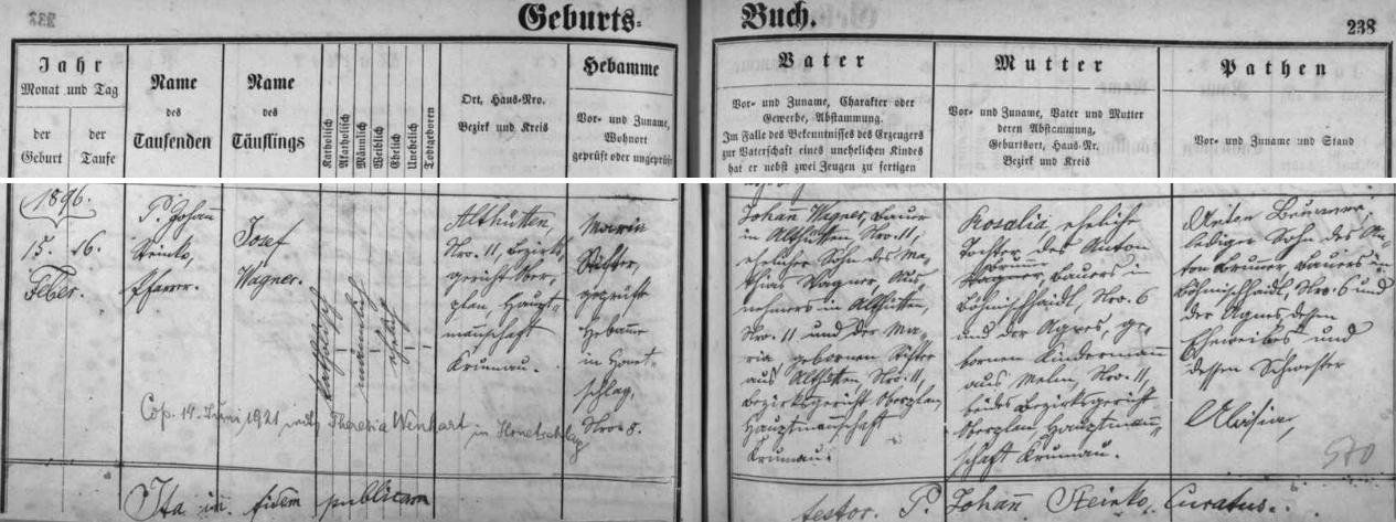 Záznam o narození otcově v hodňovské křestní matrice s přípisem o jeho pozdější svatbě