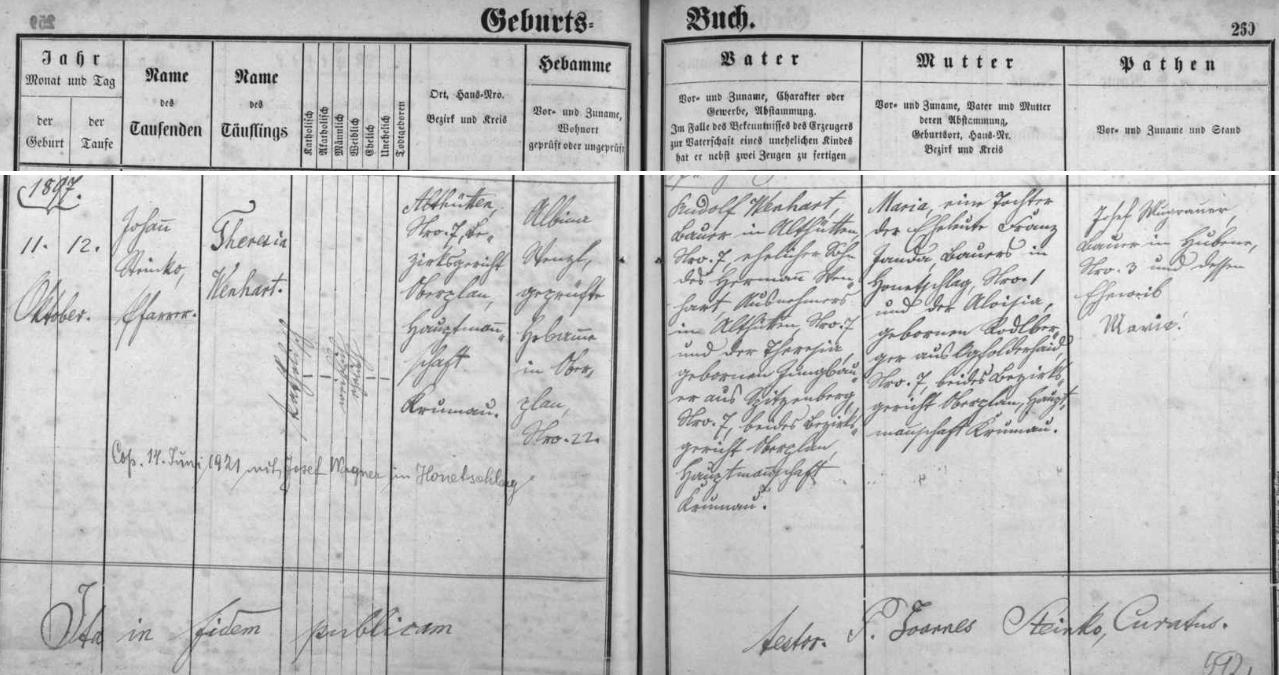 Záznam hodňovské křestní matriky o narození matčině s přípisem o její pozdější svatbě