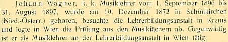 Odstavec o něm ve výroční zprávě německého učitelského ústavu v Českých Budějovicích z roku 1907