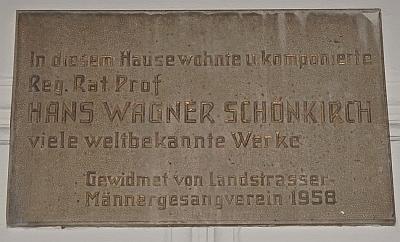 Pamětní deska na domě čp. 12 ve vídeňské ulici Kundmanngasse, kde žil a zemřel