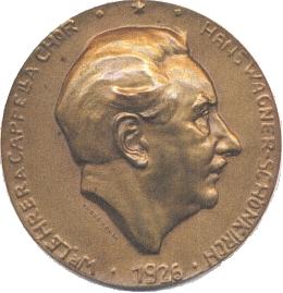 Medaile s jeho reliéfním portrétem z roku 1928